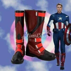 Avengers Captain America Steve Rogers Boots Shoes  Halloween