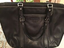 COACH BLACK LEATHER EAST/WEST GALLERY TOTE # F13098 Pre-Owned