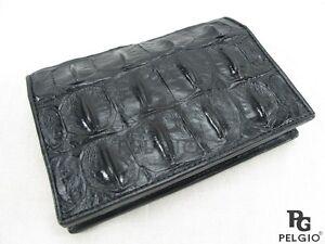 PELGIO Genuine Crocodile Alligator Skin Leather Passport Holder Wallet Black