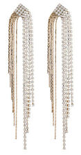 Clip On Earrings - gold plated with crystals and sparkling strands - Britt G