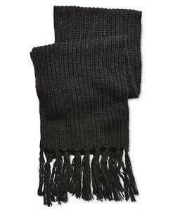 Steve Madden Men's Tassel Knit Chunky Wool Oversized Scarf Solid Black NWT $55