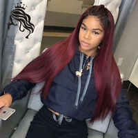 Ombre Color T1B/Burgundy  Lace Front 100 Human Hair Wigs With Baby Hair Straight