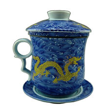 China Porcelain Teacup Blue Wave Gold Dragon Tea Cup with Lid Saucer and Filter