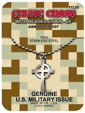 Genuine GI JEWELRY, Military Issue, CELTIC CROSS NECKLACE Non Reactive Steel