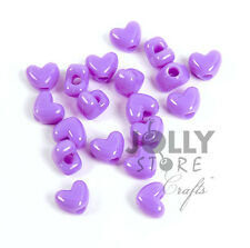 100 Lilac Heart shaped Pony Beads for hair kids school crafts jewelry more!