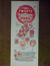 1956 Tweety Pops Candy Premiums Baseball Batters~Pitchers~Catchers~Kids Toy Ad