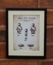 USA Patent Drawing vintage FIRST LEGO TOY figure block MOUNTED PRINT 1979 Xmas
