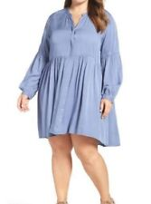 GLAMOROUS Curve Casual Button Up A-Line Dress/Tunic- Long Sleeve-Blue Plus 20 W