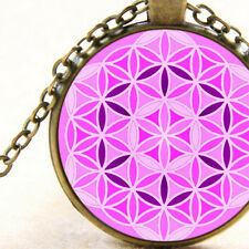 New Flower of Life, Pink, Female Energy Pendant Necklace Sacred Geometry Circles
