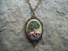 FLAMINGO CAMEO PENDANT NECKLACE!!! SET IN BRONZE!!! VACATION, CRUISE, CHRISTMAS