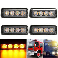 4x 12V/24V 4LED Car Strobe Flash Light Emergency Beacon Warning Flashing Lamp