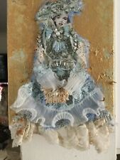 """victorian dressed lady made out of vintage fabric put on a 5""""x 7"""" blue"""