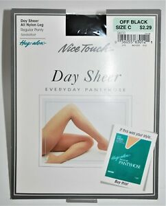 Vtg Hug Alon Everyday Pantyhose Size C Nice Touch Day Sheer Off Black Sandalfoot