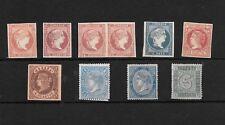 España, Conjunto de 8 sellos nuevos mas un pareja todos de Isabel II