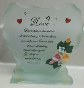 LOVE Keepsake Heart Shaped Beveled Glass Plaque with Flowers & Bible Verse