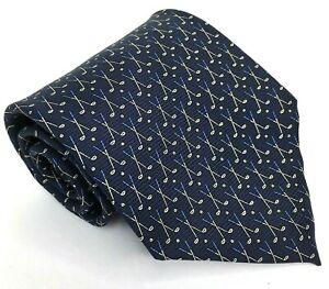 Lauren Ralph Lauren Mens 100% Silk Neck Tie Hand Finished Blue Golf Club Pattern