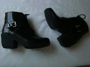 Report Signature Ankle Boots, Back Zip/Lace Up/ Buckle, Size 8.5, Shiny Black