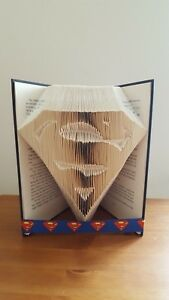 SUPERMAN SUPERHERO FOLDED BOOK ART DAD DADDY BIRTHDAY UNIQUE GIFT CHRISTMAS