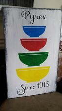 Pyrex Distressed Wood Sign Primitive Kitchen Decor Primary Colors Nesting Bowls