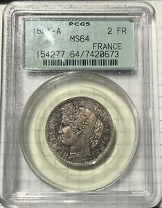 France Silver 2 Francs 1881A - PCGS MS64 Exquisite Speckled Toner in OGH!!