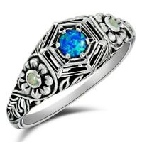 Natural Blue Fire Opal & Opal 925 Sterling Silver Ring Jewelry Sz 8,PO23