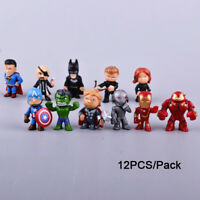 12 Set Mini Marvel Figure super Iron Hero Avenger Spider-Man Hulk 2018 Xmas Gift