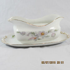 Epiag Rich gravy boat attached tray white pastel floral Replac #16665 gold trim