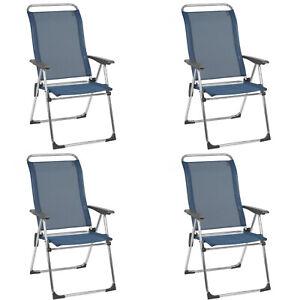 Lafuma Folding Camping Patio Mesh Sling Chair, Ocean Blue (Set of 4) (Open Box)