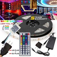 5M RGB 5050 Waterproof LED Strip Light 44 Key Remote 12V US/EU Power Full Kit