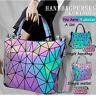 √√Luminous Women Geometric Laser Tote Shoulder Bags Laser Plain Folding Handbags
