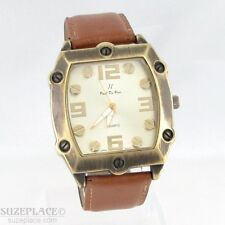 PAUL Du PREE MENS WATCH BRASS SQUARE CASE BROWN FAUX LEATHER BAND NEW BATTERY