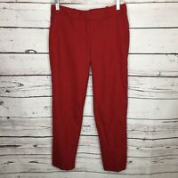 J Crew Womens Size 0 Red Orange Pants Trousers Career Dress Stretch Pockets K13