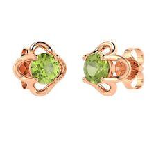 0.48 Carat Natural AAA Peridot Stud Earrings in 14k Rose Gold