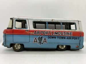 Vintage American Airlines Airport Limousine Tin Litho Friction Toy Bus Japan