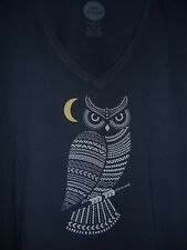 NWT Life is Good Women's XL Dark Blue Primal Owl V-Neck S/S Shirt - Awesome!