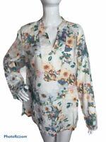 Saint Tropez West Womens L 100% Linen Tunic Floral Watercolor Popover Multi Top