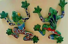 Mexican Folk Art Talavera Hand Painted Pottery Two Gecko Frogs Wall Home Decor