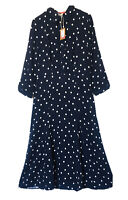 £79.95 • JOULES • Carla Long Sleeve Long Shirt Dress - Navy Spot Sz 12 UK /40""