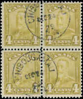 Used Canada F+ BLOCK of 4 Scott #152 4c 1929 KGV Scroll Issue Stamp