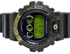 Casio Mens G Shock 6900 Black PVD Genuine Black / Canary Diamond Watch 3.0 Ct