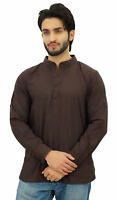 Atasi Ethnic Men's Short Kurta Dark Brown Mandarin Collar Cotton Shirt