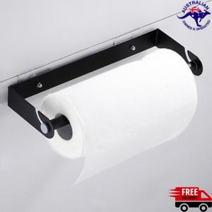 Paper Towel Holder Stainless Steel Under Cabinet Kitchen Wall Mount Rack Black
