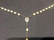 Vintage White Metal Crucifix + Rosary Beads Necklace Christian Catholic Interest