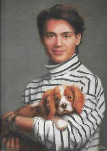 original painting 35 x 45 cm 164PK art samovar oil canvas realism Johnny Depp