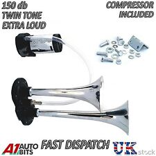 CHROME SUPER LOUD 12V TWIN TONE AIR HORN KIT HORNS MUSICAL FOR CAR BOAT VAN SUV