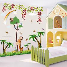 Monkey Giraffe Wall Stickers Animal Jungle Zoo Nursery Baby Kids Room Decal Art