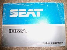 SEAT Ibiza - Notice d'entretien (carnet conduite et emploi)