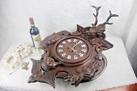 Huge German Black forest oak wood carved hunting trophy Deer dog head 1920s