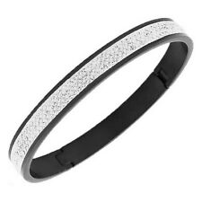 Stainless Steel Black White Crystals CZ Womens Bangle Bracelet