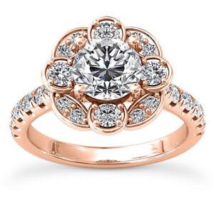 Pave Halo 2.2 Carat SI1/F Round Cut Diamond Engagement Ring Rose Gold